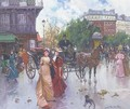 Elegant figures before a carriage in a Parisienne square - Joan Roig Soler