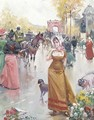 Buying flowers on a bustling Parisian boulevard - Joan Roig Soler