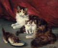 Kittens with their mother - Jules Leroy