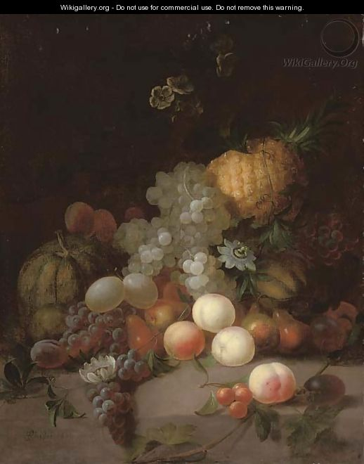 A pineapple, a watermelon, grapes, pears, peaches and other fruits with flowers on a stone ledge - Joseph Rhodes