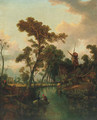 Figures in a boat before a windmill, Norwich beyond - Joseph Paul Pettit