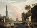 A Mediterranean harbour at sunset, with the artist, his daughter Emilie Chalgrin, his son Carle Vernet, his daughter-in-law, Fanny Moreau - Claude-joseph Vernet