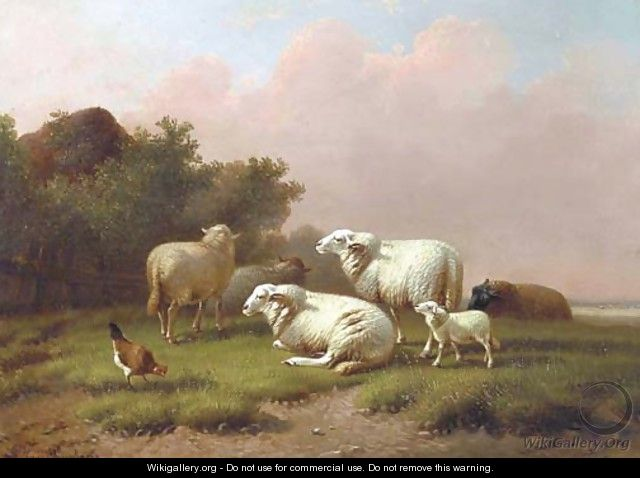 Sheep in a meadow at sunset - Joseph Van Dieghem