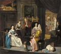 The interior of an artist's studio, with a lady having her portrait painted - Joseph van Aken