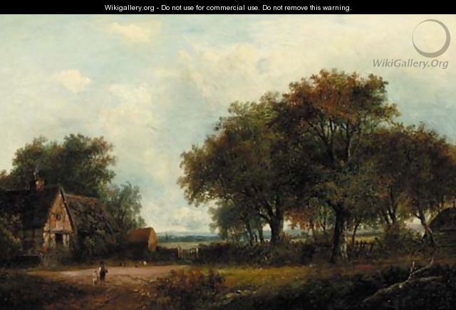 Figures by a cottage in a wooded landscape - Joseph Thors