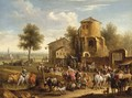 A market scene with a city in the distance - Joseph Stephan