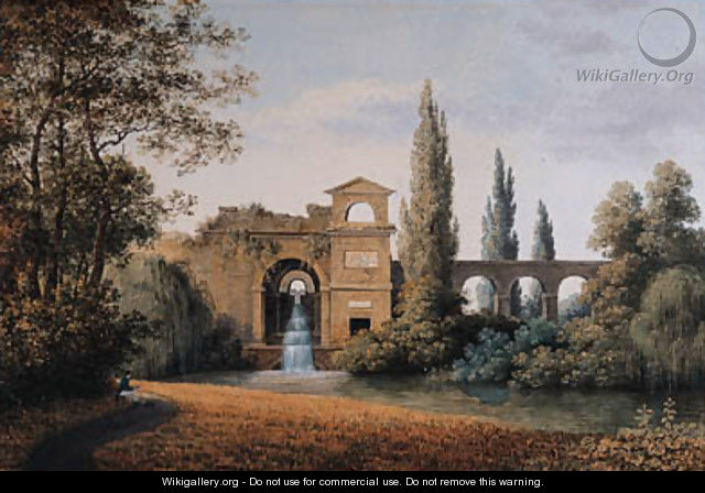 A View of an Aqueduct with an artificial Waterfall, a seated draughtsman in the foreground - Joseph Augustus Knip