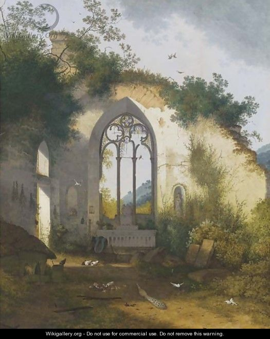 A ruined chapel with a pig sty, poultry and a peacock sheltering in the apse - Joseph Augustus Knip