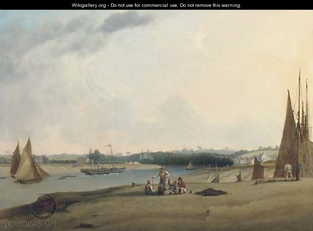 A paddle-steamer and other shipping on the River Avon at Pill, near Bristol - Joseph Walter