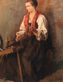 A peasant girl at a spinning wheel - a study - Jozef Israels