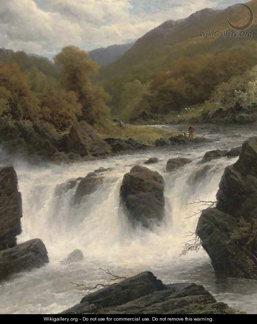 Anglers by a waterfall - James Burrell Smith