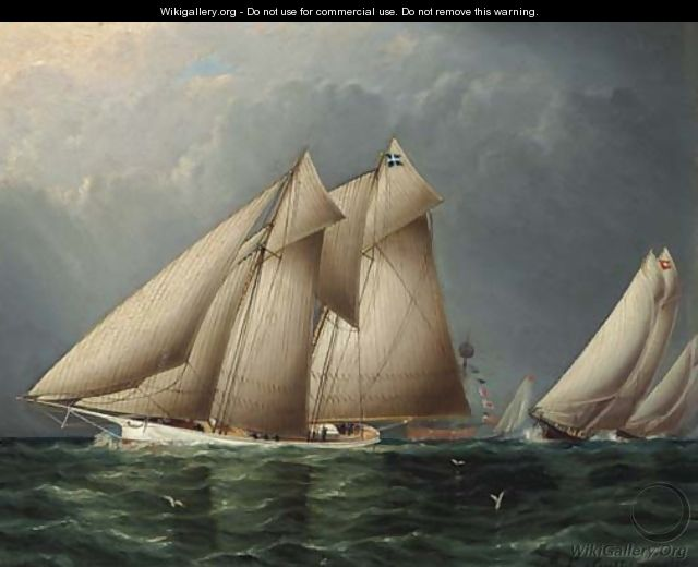 The Schooner Yacht Fenella Rounding Sandy Hook Lightship with Estelle Following - James E. Buttersworth