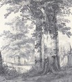 A wooded landscape with figures by a pond - James De Rijk