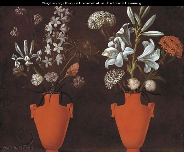 Two red vases with lilies - Jacopo Ligozzi