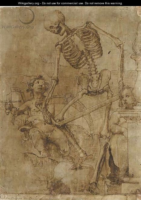 Death breaking his scythe, and two putti - Jacopo Ligozzi