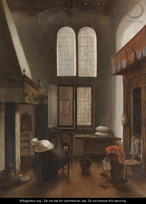 An interior of a house with a seated woman - Jacobus Vrel