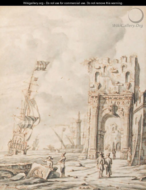 A Mediterranean harbour scene with figures by a gate, a Dutch man o