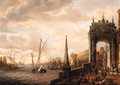 A Capriccio of a Mediterranean harbour with merchants and travellers on a quay by a gate, galleys and other shipping beyond - Jacobus Storck