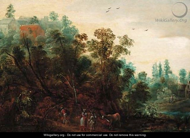 A wooded landscape with travellers on a path - Jacques Backereel