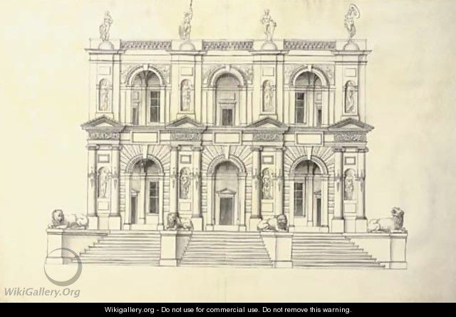 A portico of two stories in the Ionic Order above a flight of steps - J. Androuet (du Cerceau) Ducerceau