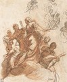 A group of figures on a cloud, with studies of other figures - Jacopo d'Antonio Negretti (see Palma Giovane)