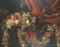 Grapes, peaches and pomegranates on a pewter platter by an oriental carpet - Jacques Hupin