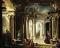 The interior of a baroque palace with elegant company conversing by fountains - Jacques de Lajoue
