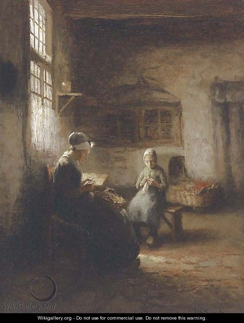 Sewing in the nursery - Jacques Cornelis Snoeck