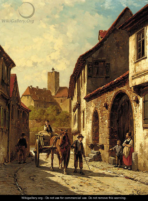A horse and cart on a continental backstreet - Jacques Carabain