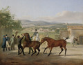 A stallion being led to a mare in a stable yard, a landscape with villas beyond - Jacques Laurent Agasse