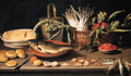 A fish on a terracotta platter with fruits, vegetables and a cheese - Jacob Fopsen van Es