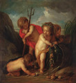 An allegory of water putti desporting with the attributes of Neptune - Jacob de Wit