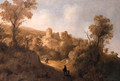 Travellers on a path in a mountainous landscape, a fortified town in the distance - Jacob De Villeers