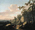 A rocky landscape with travelers on a path - Jacob De Heusch