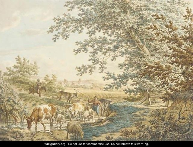 Cattle at a pond in a landscape - Jacob Cats