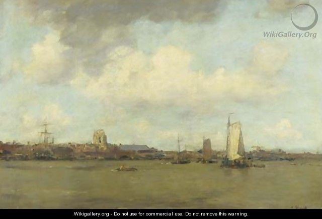 Shipping on the Merwede by Dordrecht - Jacob Henricus Maris