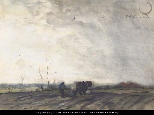 A farmer ploughing a field - Jacob Henricus Maris