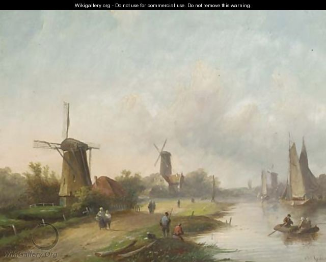 Summer windmills along a river - Jan Jacob Coenraad Spohler