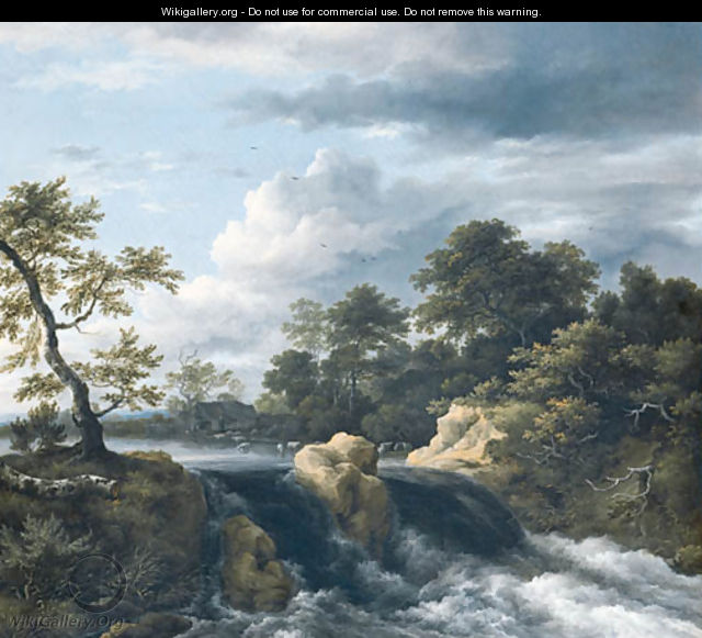 A river Landscape with a Waterfall - Jacob Van Ruisdael