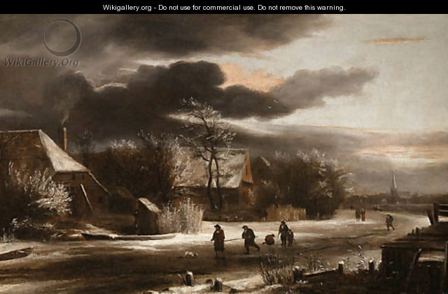 A winter Landscape with Villagers on a Path - Jacob Van Ruisdael
