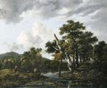 A wooded river landscape with figures on a bank - Jacob Van Ruisdael