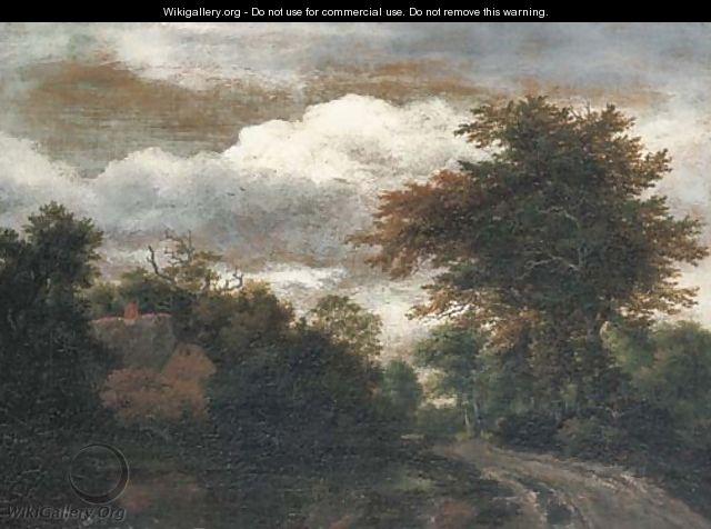 A wooded landscape with a traveller on a path by a pond - Jacob Van Ruisdael