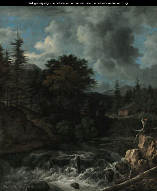 A torrent in a Scandinavian wooded landscape, a cottage beyond - Jacob Van Ruisdael