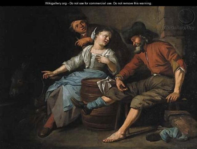 A maid entertaining travellers in a barn - Jacob Toorenvliet