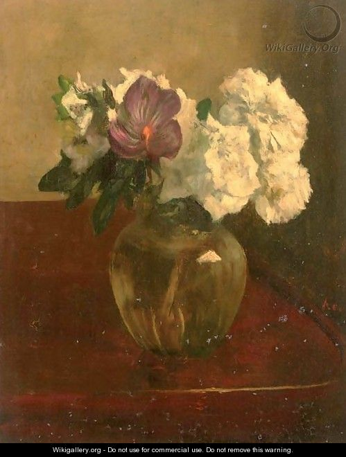 Purple and white flowers - Jacob Simon Hendrik Kever