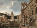 The Courtyard of a fantastical Palace with Figures gathered around a Fountain - Jacob Balthasar Peeters