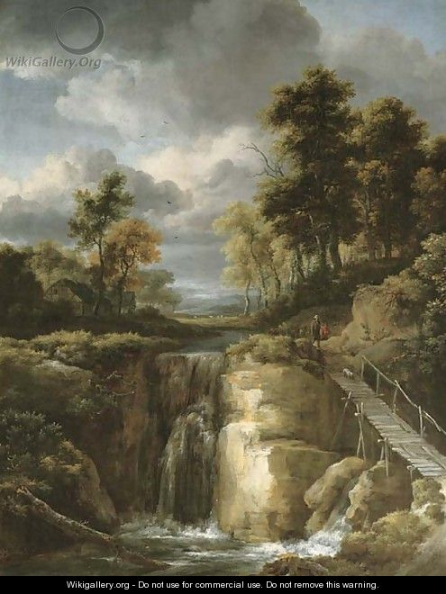 A wooded river landscape with a waterfall and figures - Jacob Van Ruisdael