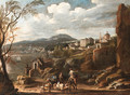 An Italianate coastal Landscape with Travellers conversing on a Path with a Town beyond - Italian School