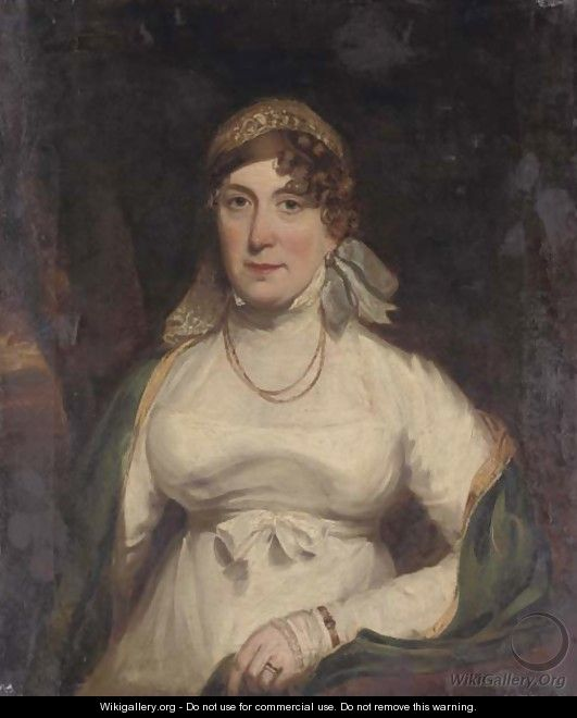 Portrait of a lady, half-length, seated in a white dress - Italian School