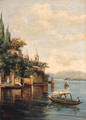 Figures on an Italianate Lake - Italian School